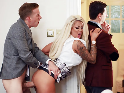 Wife hardcore fucks behind not far from of her husband