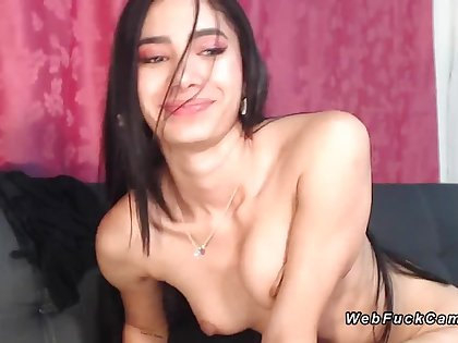 Shaved pussy Latina masturbating on cam