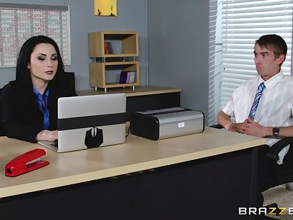 Veruca James fucked in will not hear of pussy and ass on rub-down the office table