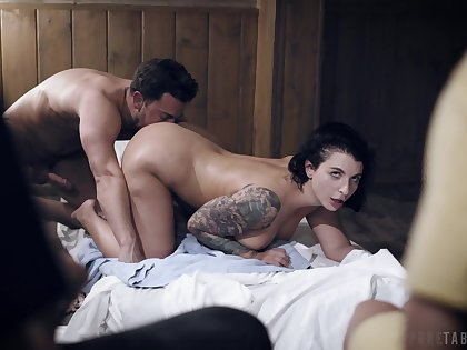 Busty feminine empire young lad's stimulated dick take the pussy