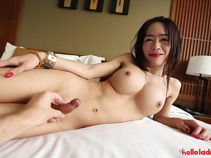 Amateur Thai ladyboy Ai is fucked hard by yoke foreign man
