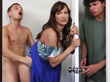 Busty MILF seduces her stepson's shy affiliate