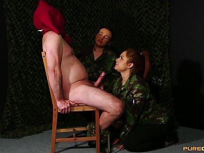 Three nasty sluts Mandy Foxxx and Tory Jones please one clothed beggar