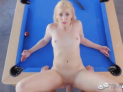 Blonde bitch banged after billiard bet