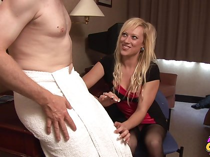 Lap dude gets his dig up stroked by seductive blonde Axa Make a fool of