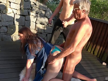 Hardcore outdoors amateur score sex with dirty sluts Iveta with an increment of Aneta