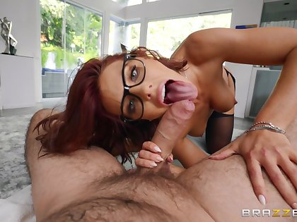 Redhead with notion of glasses, naff home POV with a big dick in her holes