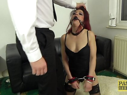 Dirty redhead slut Leanne Morehead gets rough fucked in all holes