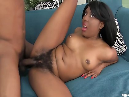 Horny Ebony With Pierced Nipples Gets The brush Hairy Cunt Deep Pounded By A Bbc