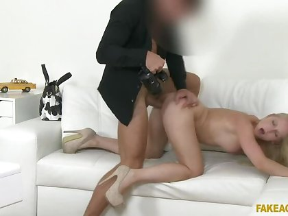 Amazing natural tits blonde fucks for a labour